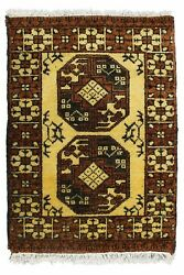 Indian Hand Knotted Carpet Antique Wool Rug 2and039x3and039 Handmade Floor Area Rug