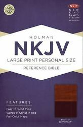 Nkjv Large Print Personal Size Reference Bible, Brown/tan Leathertouch Imitation