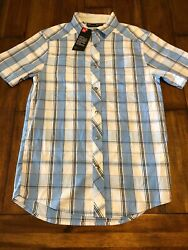 Under Armour Mens Hitch Woven Plaid Blue White Short Sleeve Button Front Nwt S