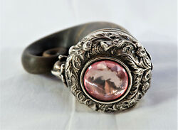 Antique English Polished Horn And Sterling Silver Snuff Mull/box Presentation