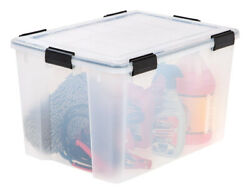 Iris 110586 74 Qt. Capacity Plastic Clear Stackable Storage Tote Pack Of 4