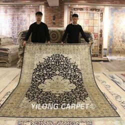 Yilong 6and039x9and039 Blue Handmade Silk Carpet Porch Classic Hand Knotted Area Rugs 628b