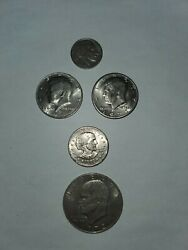 Mixed Lot Of Coins 1936 Buffalo Nickel 1971and80 Half Dollars 1979 B. Anthony Etc