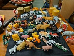 Vintage Mix With Britains Toys Farm Animals Around 50/60 Plus Briks And Rounds