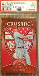 2018 Panini Crusade Ruby Wave 19 Mike Trout 058/199 Psa 9 Mint