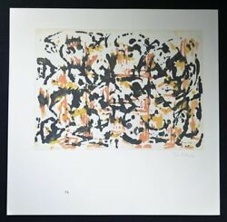 Jackson Pollock, Hand Signed Lithograph Black Smudges With Orange And Yellow