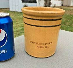 Anna, Illinois Producers Dairy Bold Striped Rolled Edge Container, E+ Mint