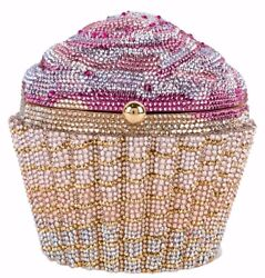 Judith Leiber Strawberry CupCake Minaudière Evening Bag Designer Pink Gold