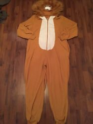 Womens Xl Xhileration Lion Fleece One Piece Pjs Non Footed Hood Tail