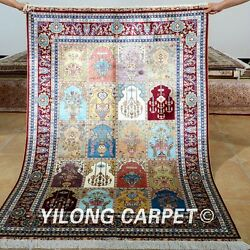 Yilong 4and039x6and039 Four Season Area Silk Rug Handmade Carpet Outdoor Hand Knotted 0664