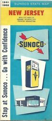1961 Sunoco Gas Pump Road Map New Jersey Atlantic City Trenton Newark Manhattan