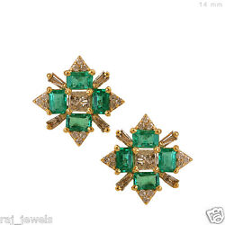 Gemstone Emerald Stud Earrings Diamond Pave Solid 18 K Yellow Gold Antique Style