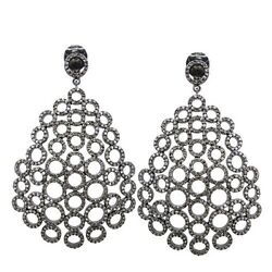 Solid Sterling Silver Filigree Dangle Earrings 5ct Diamond Pave Designer Jewelry