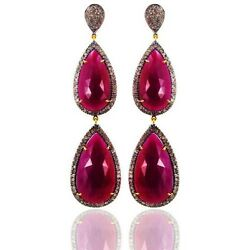 Ruby Dangle Earrings 14k Yellow Gold Sterling Silver 5.15ct Pave Diamond Jewelry