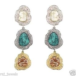 Natural 9.89ct Slice Color Diamond Dangle Earrings Vintage Style Solid 14 K Gold