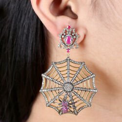 Ruby Spider Web Dangle Earrings Pave 4.8ct Diamond 925 Silver Halloween Jewelry