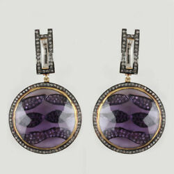 Iolite Gemstone Sterling Silver Natural Diamond Pave Dangle Earrings Jewelry New