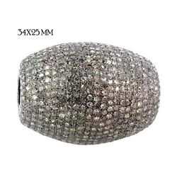 925 Sterling Silver Fine Finding Diamond Pave Bead Spacer Vintage Style Jewelry