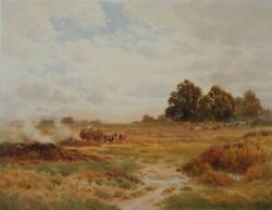 Alfred Powell Burning Weeds On A Farm Near Pulborough. Watercolour. Signed.