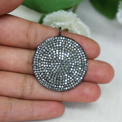 3.56ct Natural Pave Diamond Round Disc Pendant Vintage Inspired Fine Jewelry Py