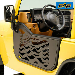 EAG US Flag Steel Tube Door with Side Mirror Pair Fit for 97-06 Jeep TJ Wrangler