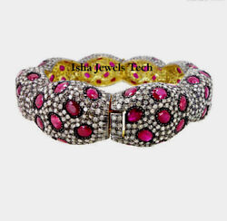 Victorian Natural Rose Cut Diamond And Ruby 925 Sterling Silver Bangle Bracelet