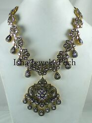 Victorian Natural Pave Diamond And Diamond Polki 925 Sterling Silver Necklace