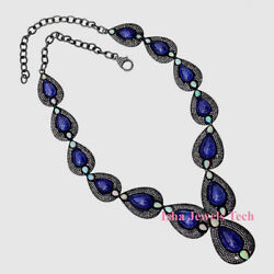 Natural Diamond Polki And Tanzanite Opal 925 Sterling Silver Necklace Jewelry