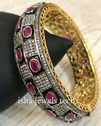 Victorian Bangle Natural Diamond And Ruby And 925 Sterling Silver Bracelet