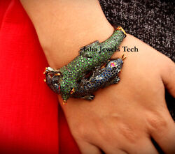 Victorian Bangle Natural Emerald And Blue Sapphire And 925 Sterling Silver Bracelet