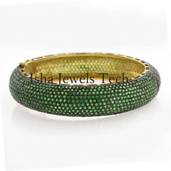925 Sterling Silver Natural Emerald Victorian Bangle Bracelet Jewelry