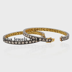 Natural Uncut Diamond Polki Gold And Sterling Silver Victorian 2pieces Bangle