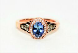 Levian Blueberry Tanzanite And Diamond 1.75tcw 14k Rose Gold Superfit Womenand039s Ring