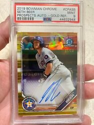 2019 Topps Bowman Chrome Gold Refractor Auto Seth Beer 07/50 Top Prospect Psa 9