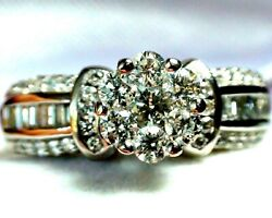 Big 1.75 Ct Diamond Cluster Wedding Engagement Ring 14k Solid White Gold.7.25