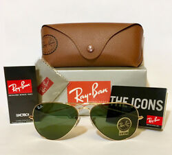 Guarantee 100% Authentic Ray Ban Aviator RB3025 L0205 Sunglasses Green 58mm Lens $83.87