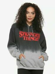 Stranger Things Dip Dye Gray Hoodie New with Tags Fan Gift Juniors M L 2XL