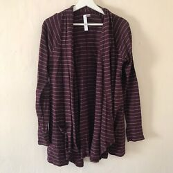 Abound Maroon Striped Open Front Cardigan Sweater Womens Size Large