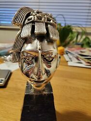 Mayan Stone Head Is Of Kand039inich Silver Sculpture From Mexico