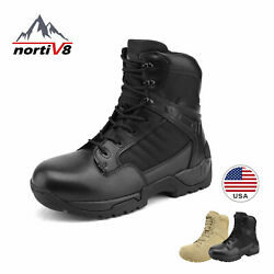NORTIV 8 Mens Military Tactical Work Boots Side Zipper Ankle Hiking Combat Boots $39.55