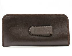 NEW Soft Eyeglasses Reading Glasses Case Pouch Dark Brown Faux Leather with Clip $3.79