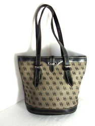 DOONEY amp; BURKE Black Bucket Handbag Signature Canvas Leather Shoulder Bag Purse $49.00