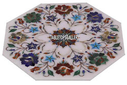Marble Side Coffee Table Top Multi Mosaic Floral Marquetry Inlay Decor H3838