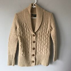 Eddie Bauer Womens Camel Tan Chunky Cardigan Cable Knit Size Xs
