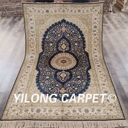 Yilong 5'x8' Blue Handmade Silk Classic Carpet Hand-knotted Area Rug Store 477b