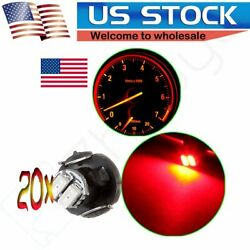 20 X Red T3 Neo Wedge 2SMD LED Car Cluster Dash A/C Climate Control Light Bulbs