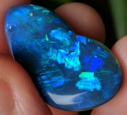 Unique 26ct Solid Black Opal Blue Green Freeform Carving From Lightning Ridge
