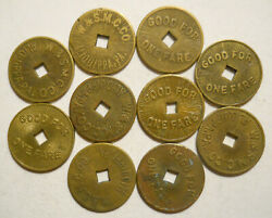 Lot Of 10 W. And S. M. C. Co. Aliquippa, Pennsylvania Transit Tokens - Pa10c