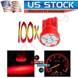 100 Red Wedge Side T10 3020 6-SMD LED Speedometer Instrument Light 194 168 192