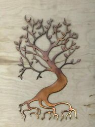 Bonsai Tree Wall Metal Art Hanging with Rustic Copper Finish